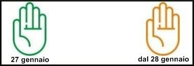 Segnale passaggio VERDE ARANCIO 27 gennaio 2020 inquinamento limitazioni ant 380