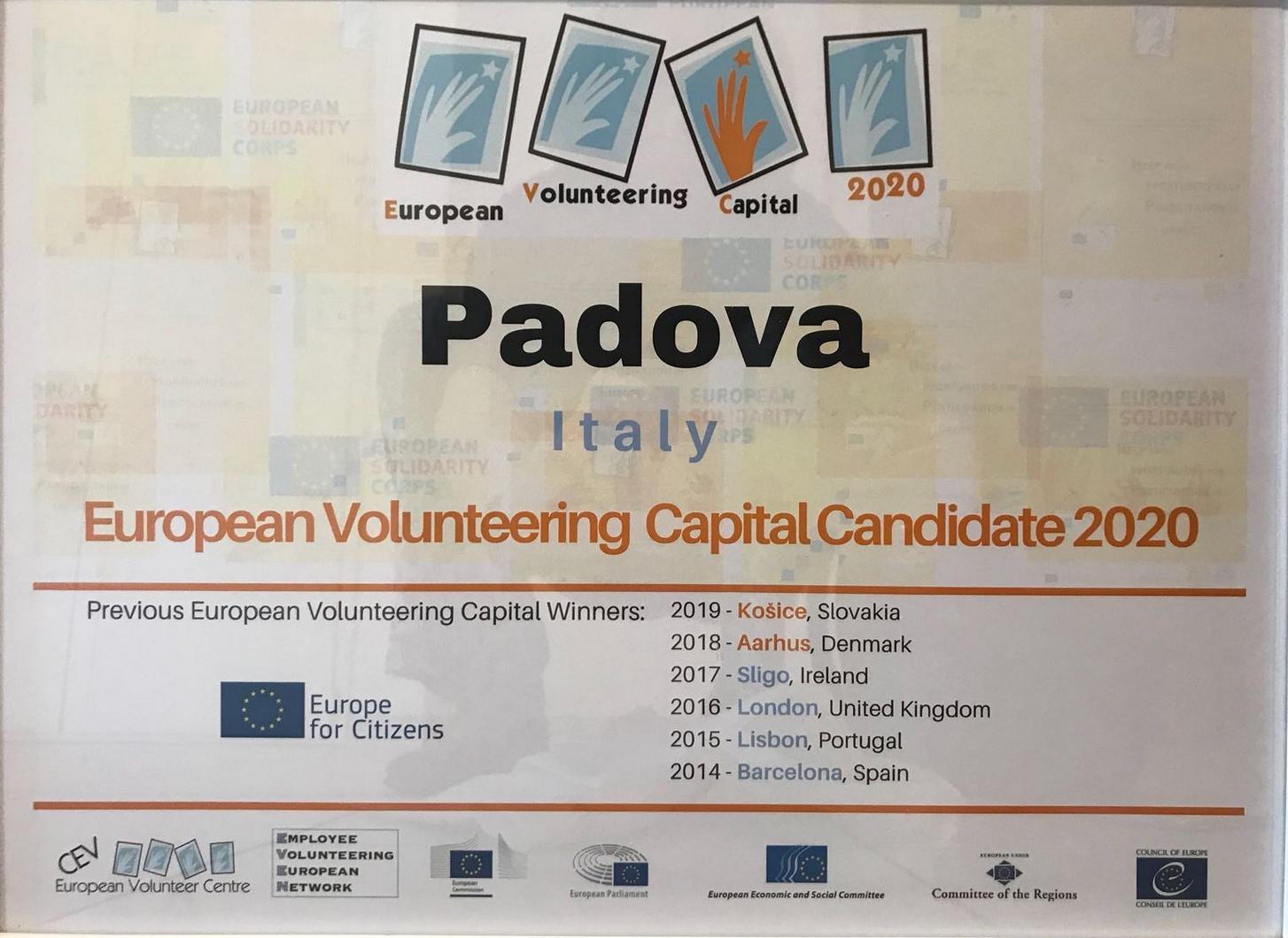 Candidatura di Padova a Capitale europea del volontariato 2020